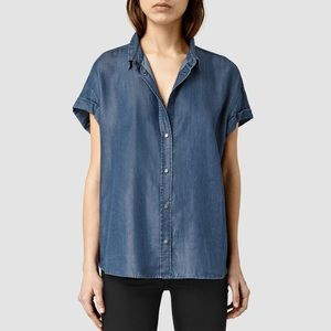 ALL SAINTS Jil Chambray Denim Buttondown Shirt Top
